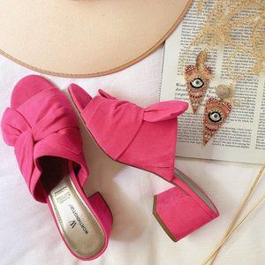 WORTHINGTON Suede Pink Bow Slip On Sandals